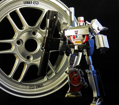 Megatron poses with the spare wheel.
