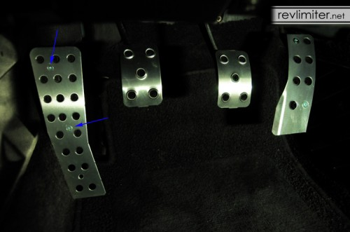 Dead pedal screw holes - only use the top 2.