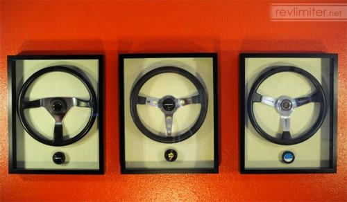 Steering wheels as art.