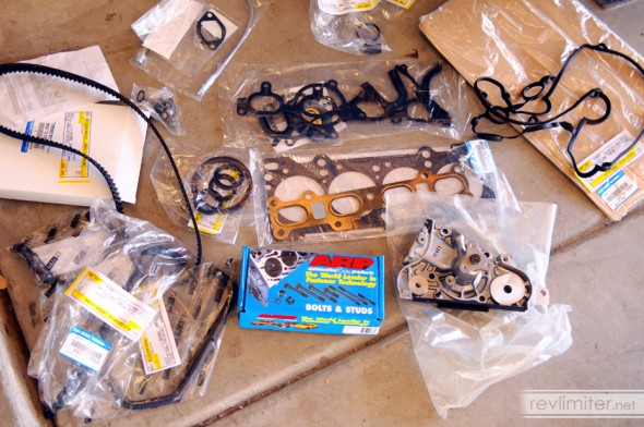 A complete engine gasket kit and some other goodies.