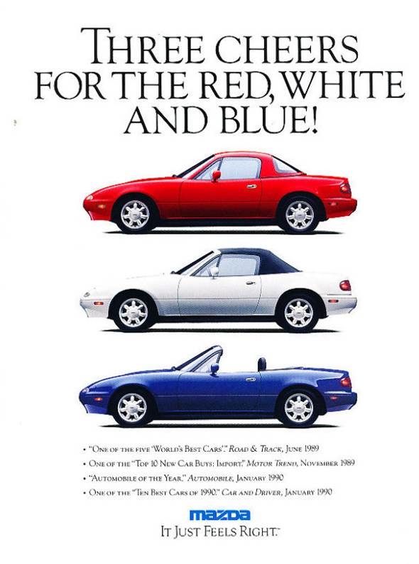 The 3 original Miata colors.
