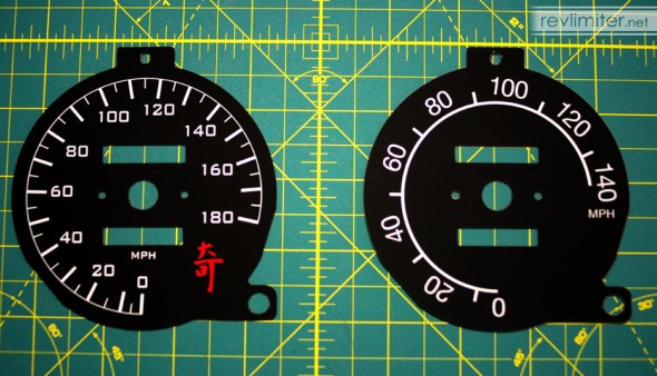 Recalibrated speedo (left) vs stock calibration (right)