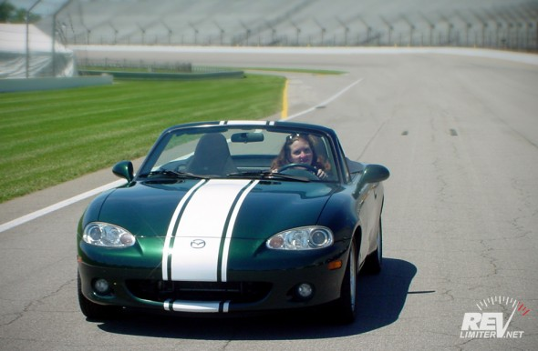 Driving the road course at Indianapolis Motor Speedway.