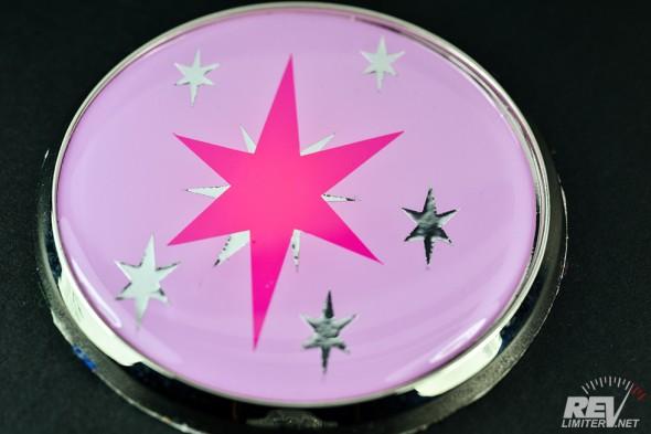 A Twilight Sparkle nose badge.