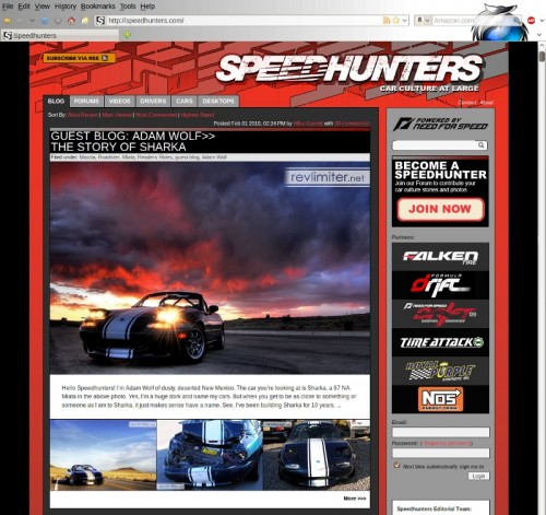 Sharka on the Speedhunters front page