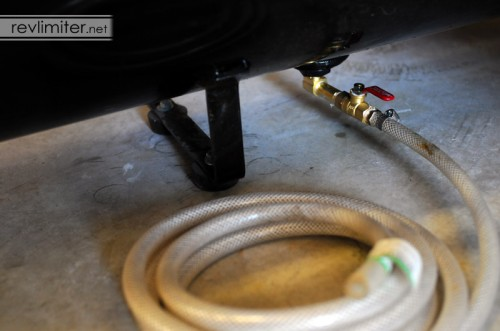Ball valve air tank drain all assembled.