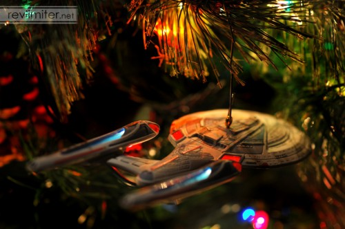 Enterprise E goes into the holiday nebula.