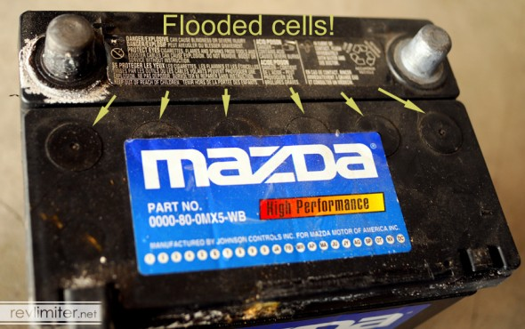 A classic wet-cell battery. With the Mazda name. Ugh!