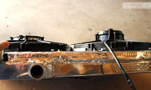 Aluminum tape applied to the shroud edges.