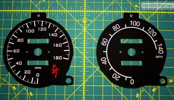Recalibrated speedo (left) vs stock calibration (right)