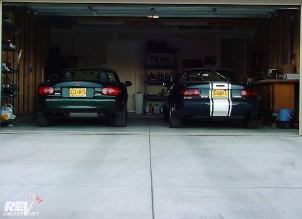 Bucky and Sharka in their garage.