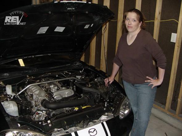 Sarah after installing an intake.