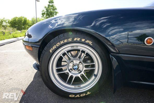 Round wheels.