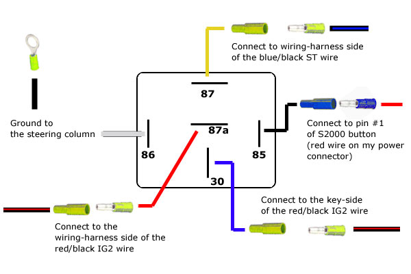 revlimiter.net - s2000 starter button (90-97 version) 5 pin relay spotlight wiring diagram